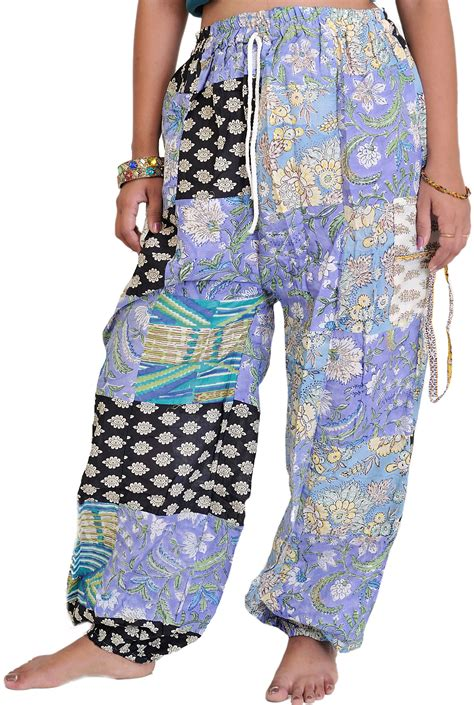 Patchwork Trousers - casual patchwork trousers with front pockets