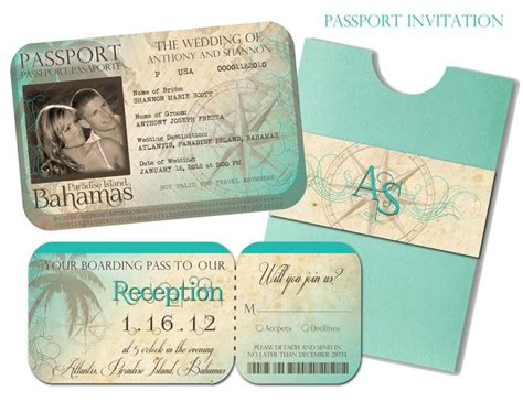 passport wedding invitation and boarding pass reception