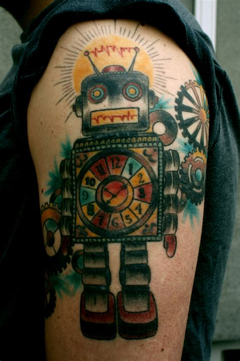 robotic arm tattoo colourful robot arm tattoomagz