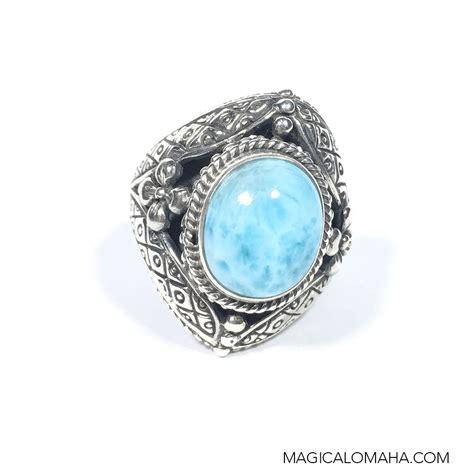 size 7 sterling silver bali style larimar ring by sarda