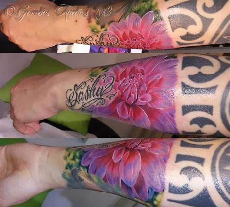 gombi name with flower tattoo sasha flower name script pink