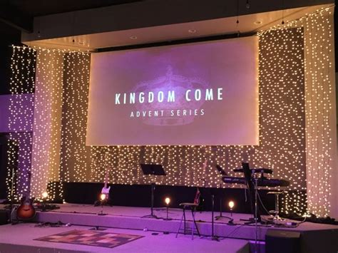 design of backdrop stage littered w light from new community christian church in