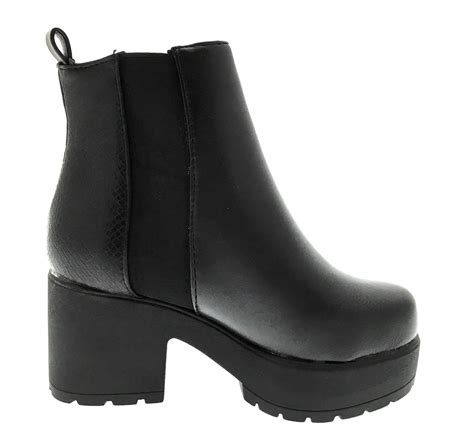 mid chunky block heel chelsea low ankle boots