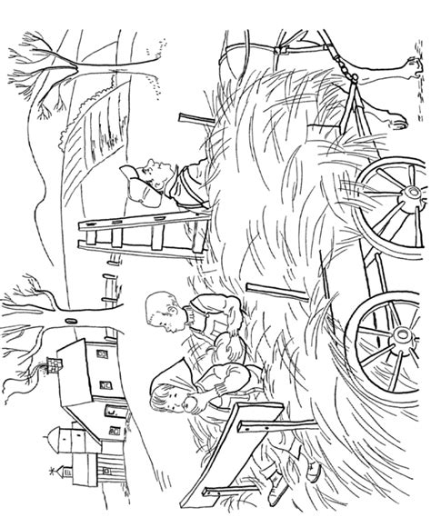 free coloring pages of hay ride