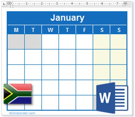 ms office free templates 2018 calendar with south africa holidays ms word download