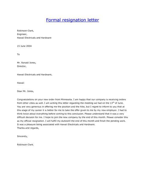 Formal Letter Format Of Resignation Formal Letter Of Resignation Template Formal Letter Template