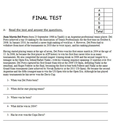 reading comprehension test advanced sports final reading based test