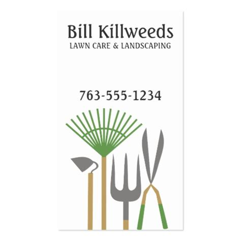 yard tools rake clippers lawn care landscaping business card zazzle