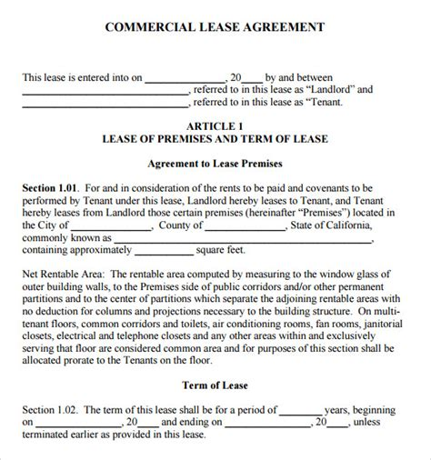 commercial rental lease agreement template sle commercial lease agreement 7 exle format
