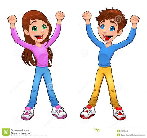 Picture Of Boy And Free Enthusiast Boy And Girl Stock Vector Image Of Cartoon