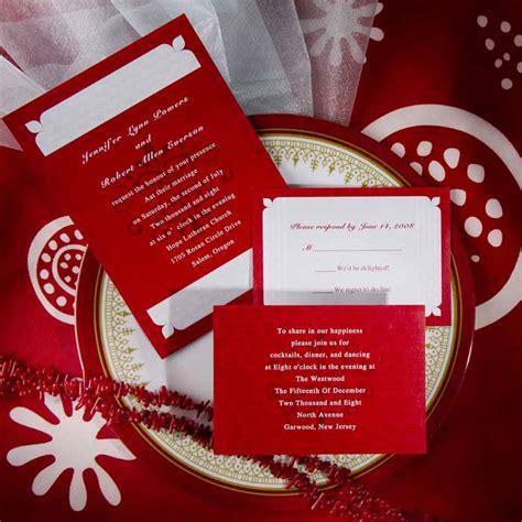 vintage white and red damask wedding invitation sets