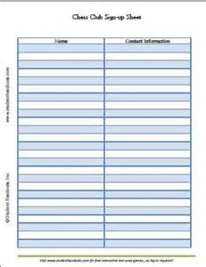 free printable chess club sign up sheet student handouts