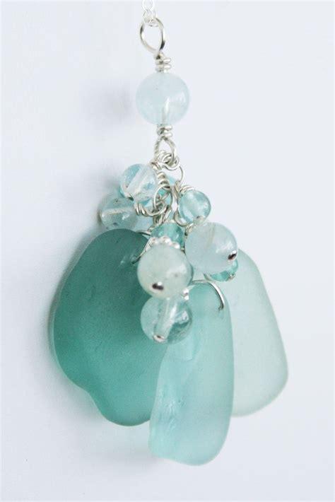 sea glass l shade sea glass jewelry aqua and teal shades necklace