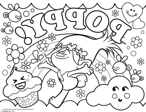happy birthday poppy coloring pages trolls coloring sheets and printable poppy free from page