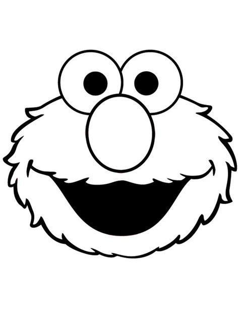 Cute Elmo Face Coloring Page   happy   Pinterest   Disney