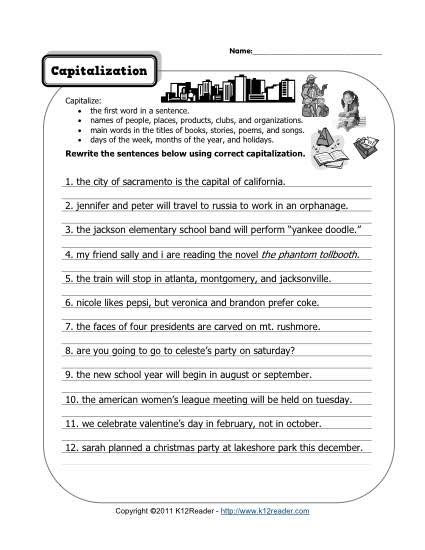 printable worksheets on capitalization and punctuation capitalization and punctuation worksheets switchconf