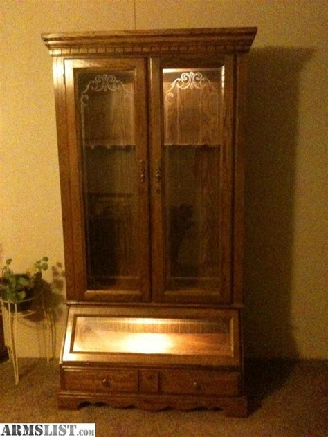 wood gun cabinet for sale armslist for sale wood 10 gun cabinet with lighting