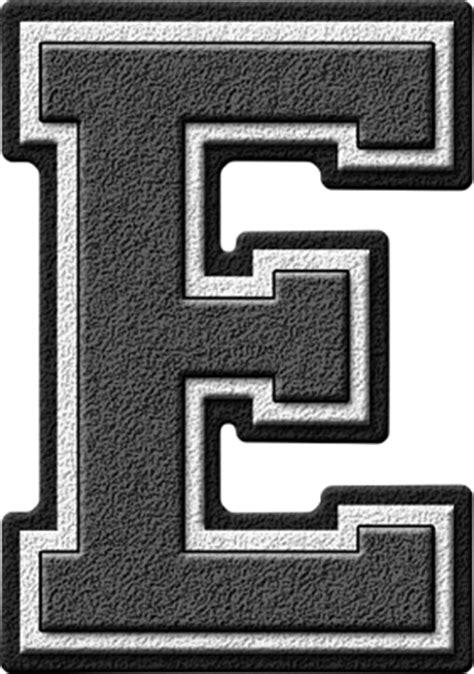 Letter Grey Presentation Alphabets Grey Varsity Letter E