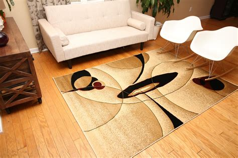 New City Contemporary Brown And Beige Modern Wavy Circles Brown And Beige Area Rug