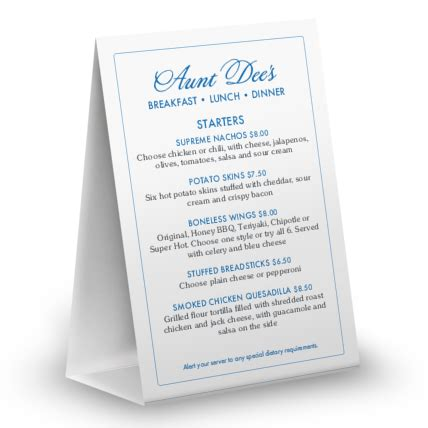 13 American Table Menu by American Family Table Tent Table Tent