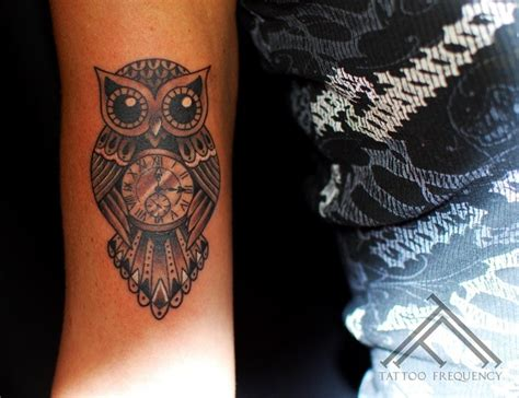 owl clock tattoo 40 awesome owl clock tattoos