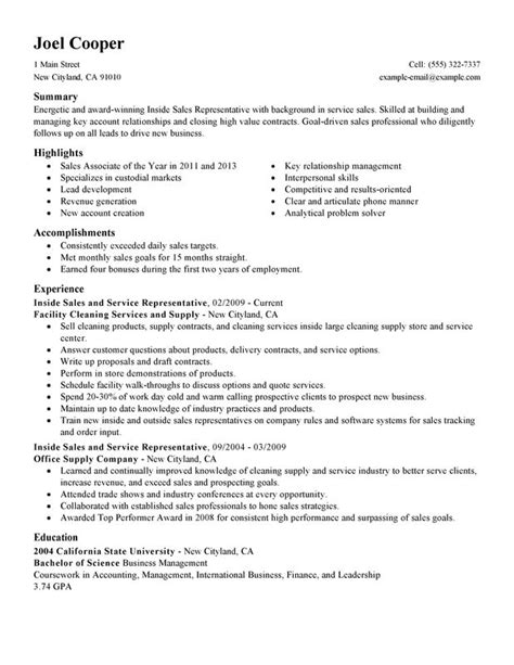 Resume Sles Simple by Inside Sales Resume Exles Free To Try Today Myperfectresume