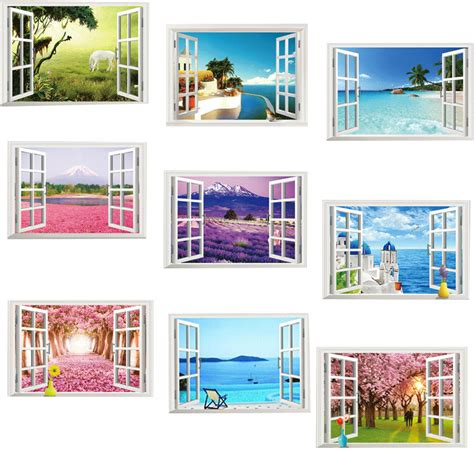 Home Decor Express 9 Styles For You Choose 3d Window Decal Wall Stickers Home Decor Landscape View