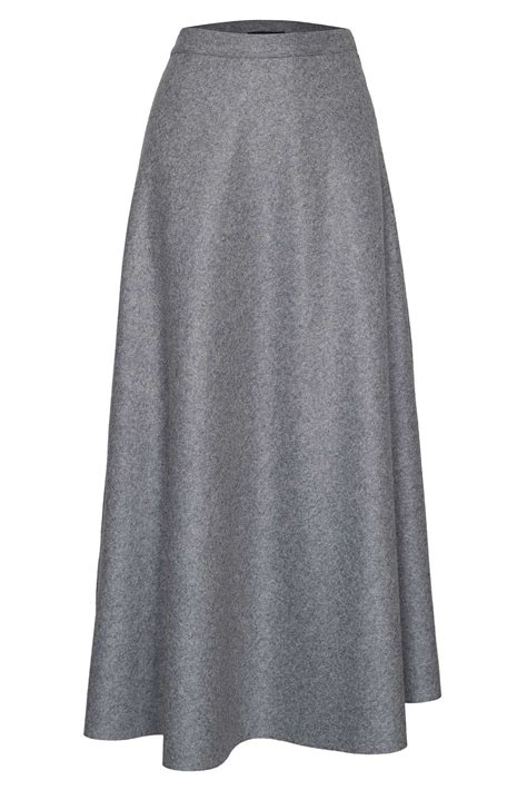 lakeland wool high waist skirt in gray lyst