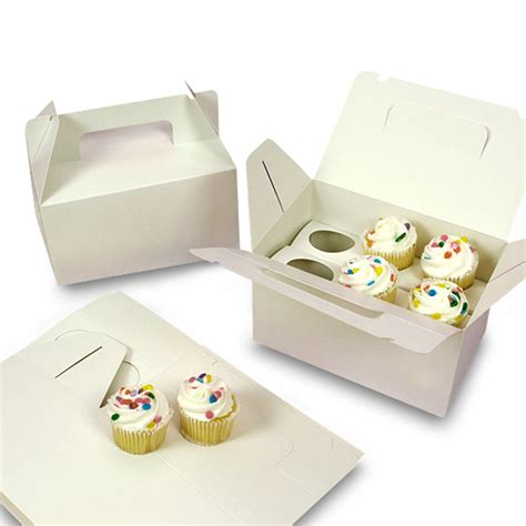 How To Make Cupcake Boxes Out Of Paper - white six cupcake carry box