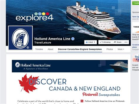Sweepstakes Canada 2014 - holland america line pin to win canada new england sweepstakes