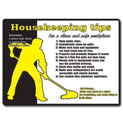 housekeeping tips safety poster housekeeping tips 18 quot h x 24 quot w