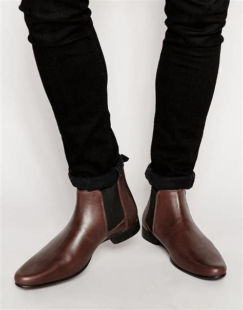 mens burgundy chelsea boots asos chelsea boots in burgundy leather with back pull in