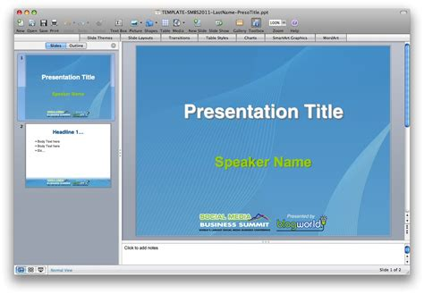 conference presentation template ppt speaker slide templates blogworld new media expo 2011