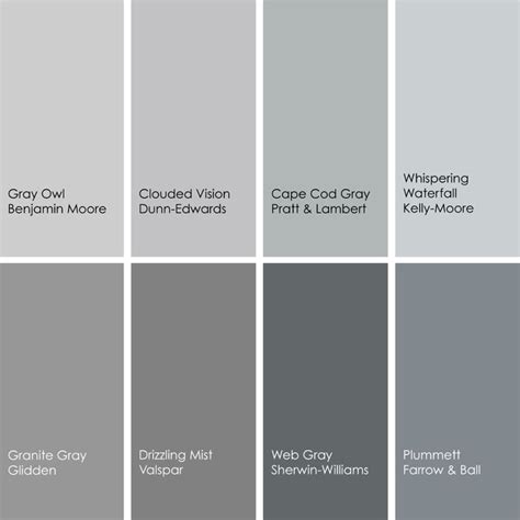 grey color names gray paint color names