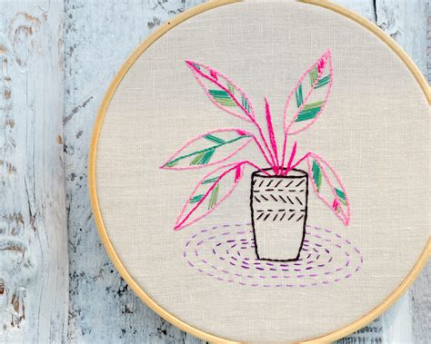 Handmade Embroidery Design - embroidery patterns modern embroidery houseplants