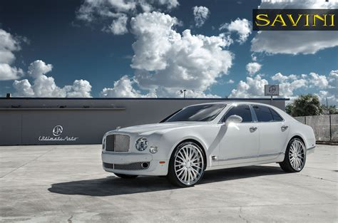 white bentley black rims mulsanne savini wheels