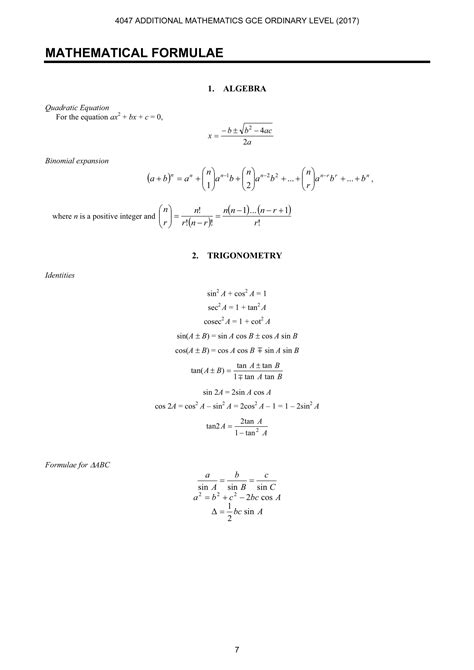 a maths formula sheet o level