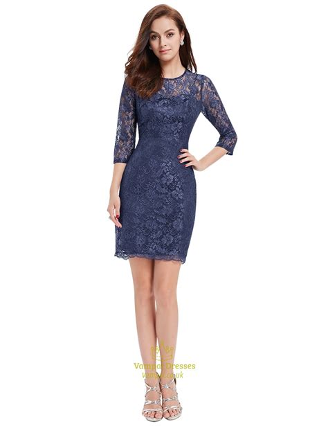 Sleeve Lace Cocktail Dress purple lace illusion neckline sheath cocktail dress with 3
