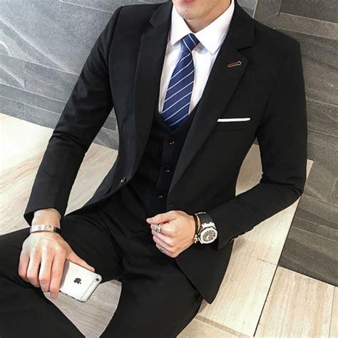 Slim Allblack New Arrival 3 pieces black suit coat pant designs suit new
