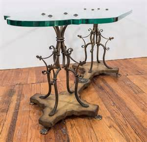 Wrought Iron And Wood Coffee Table Midcentury Sculptural Gilt Wrought Iron And Wood Coffee Table With Glass Top At 1stdibs
