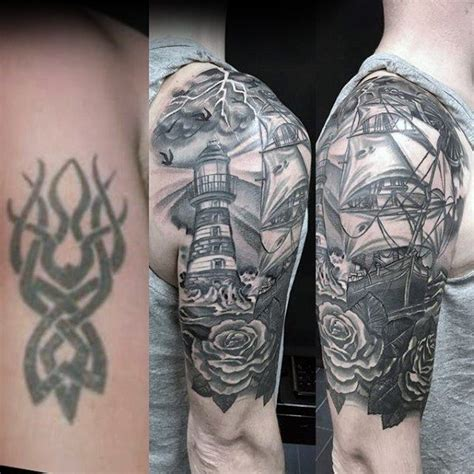 quarter sleeve tattoo cover up 60 tattoo cover up ideas for men before and after designs
