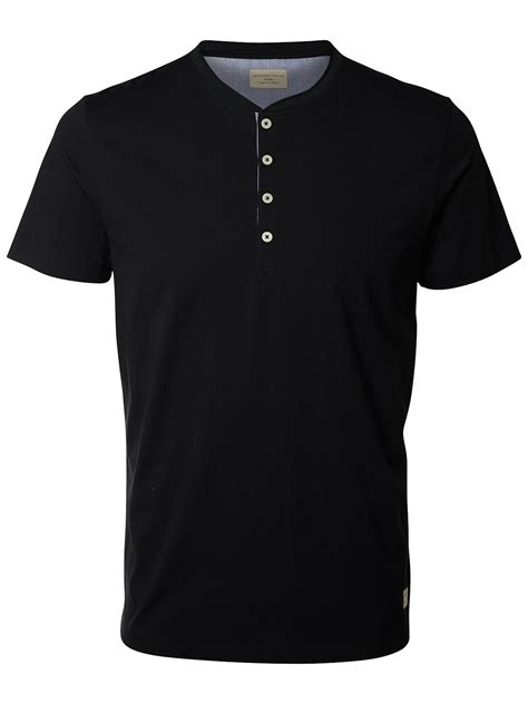 Selected T Shirt selected herren shirt kurzarm t shirt uni mit knopfleiste