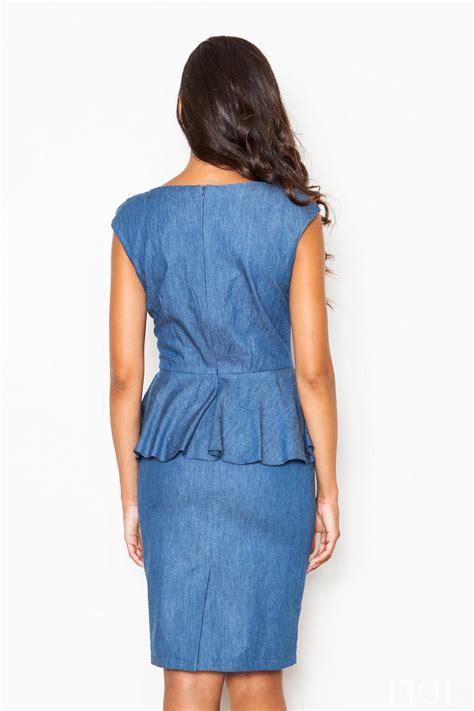 sleeveless blue peplum dress with pencil skirt