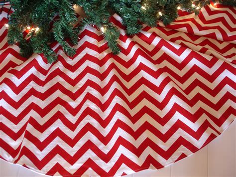 40 chevron christmas tree skirt red and white