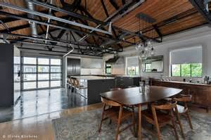 Industrial Style Kitchen Designs exposed duct work in true loft fashion the ceiling of the kitchen