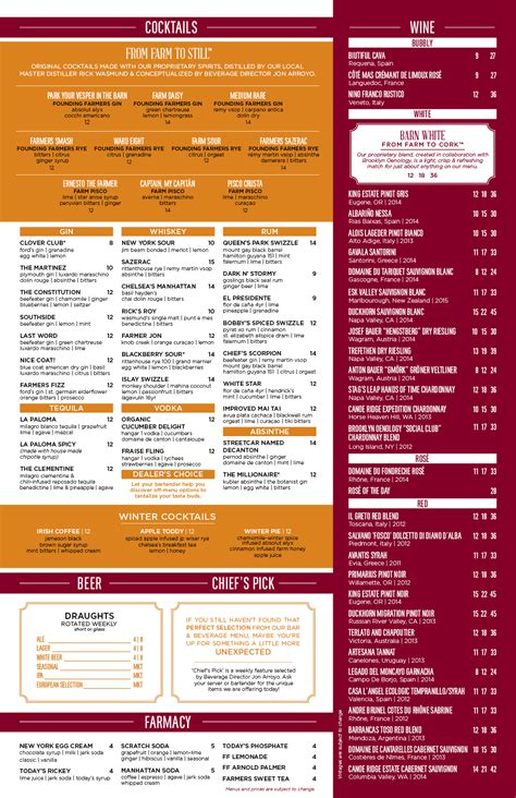 table dc menu bar cocktail drink menu dc founding farmers