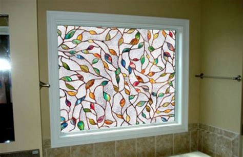 house window film privacy 45x100cm 17 7x39 3 in colorful leaf static cling decoration stained glass window film