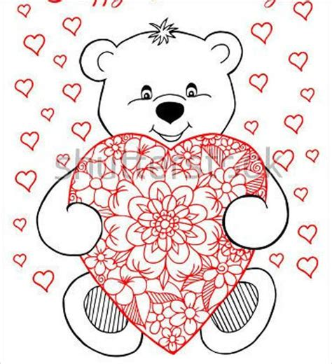 coloring pages of teddy bears with hearts 8 heart coloring pages jpg ai illustrator download