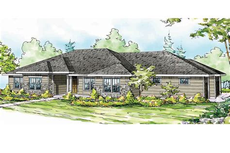 prairie style floor plans low pitch roof home plans