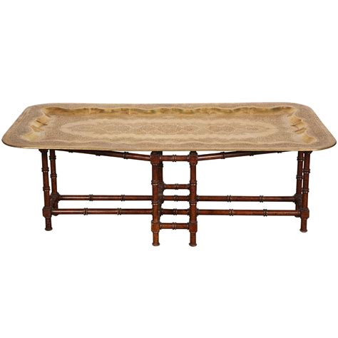 mid century rectangular brass tray coffee table at 1stdibs